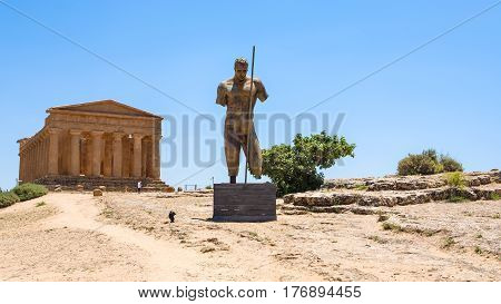 Statue And Temple Of Concordia In Agrigento