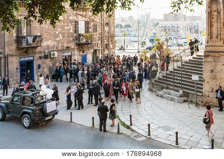 Wedding Ceremony Near The Church In Palermo City