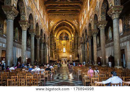 Visitors Indoor Of Duomo Di Monreale In Sicily