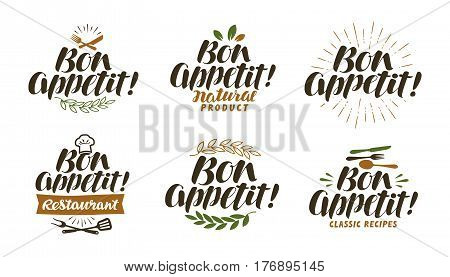 Bon appetit, lettering. Food label set. Vector illustration isolated on white background