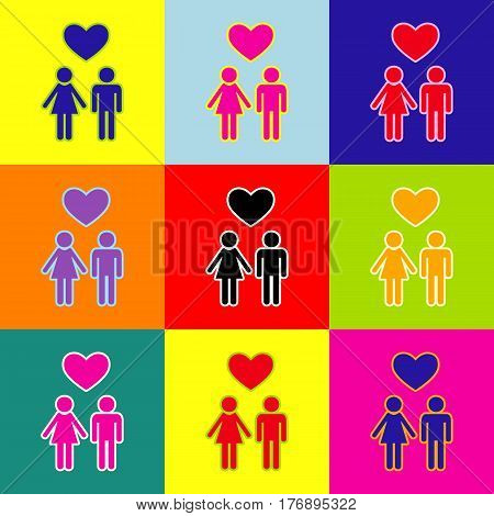 Family symbol with heart. Husband and wife are kept each others hands. Love. Vector. Pop-art style colorful icons set with 3 colors.