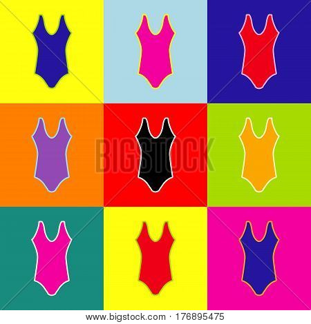 Womans swimsuit sign. Vector. Pop-art style colorful icons set with 3 colors.