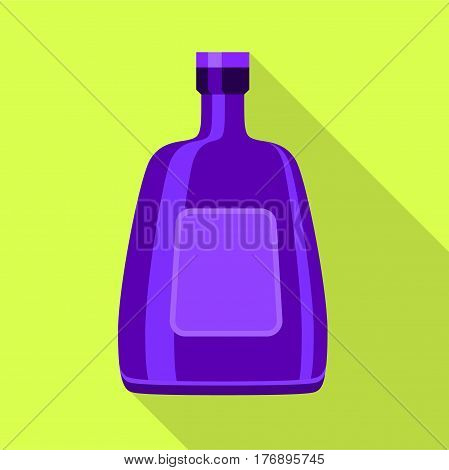 Purple glass bottle for alcohol icon. Flat illustration of purple glass bottle for alcohol vector icon for web