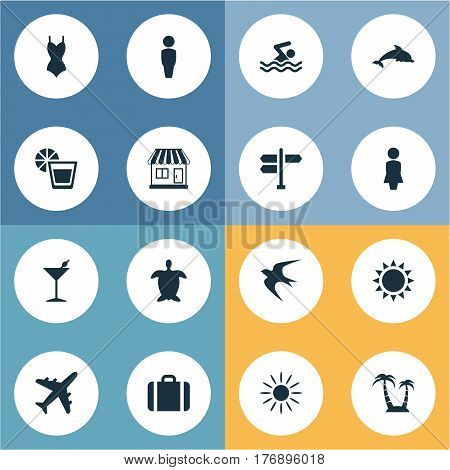 Vector Illustration Set Of Simple Beach Icons. Elements Hot, Cocktail, Suitcase And Other Synonyms Pool, Seagull And Turtle.