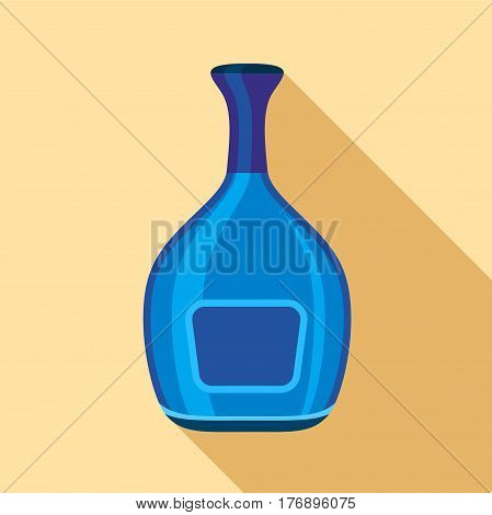 Blue wide bottle icon. Flat illustration of blue wide bottle vector icon for web