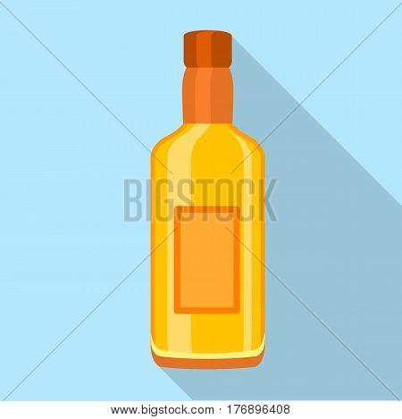 Glass cognac vodka bottle icon. Flat illustration of glass cognac vodka bottle vector icon for web