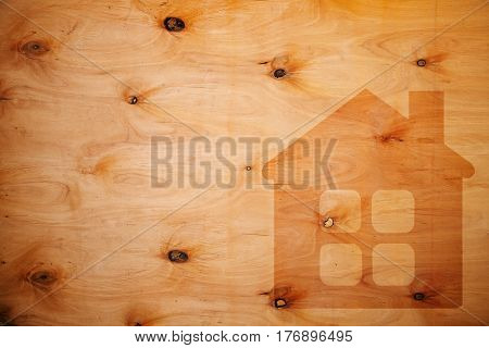 Silhouette Of A House On Plywood