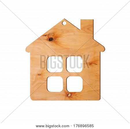 Small plywood house isolated on white background
