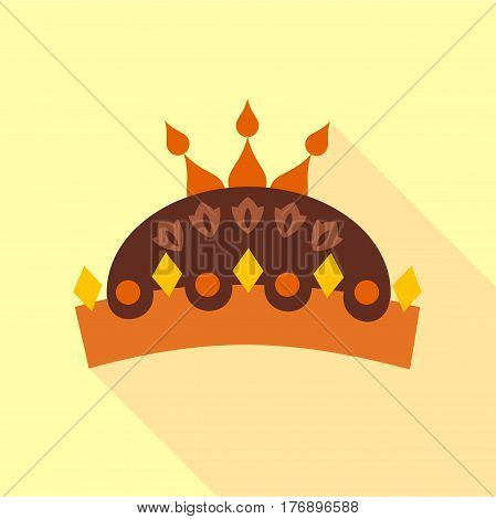 Crown with jewels icon. Flat illustration of crown with jewels vector icon for web