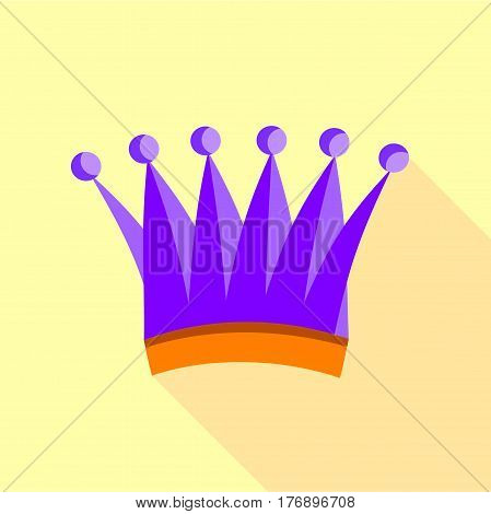 Violet queen crown icon. Flat illustration of violet queen crown vector icon for web