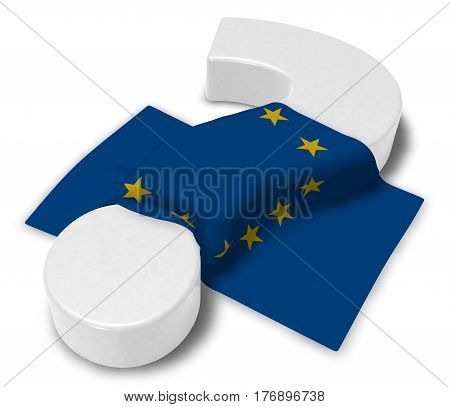 question mark and flag of the european union - 3d illustration
