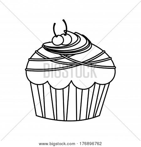 figure muffin with cherrys and chocolate icon, vector illustration