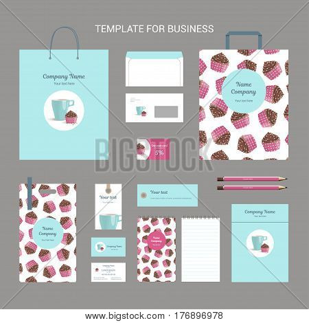 Set of corporate identity for confectionery, shop, cafe or restaurant, cap and cake with chocolate cream in pink wrapping with polka dots, vintage branding business template, vector illustration