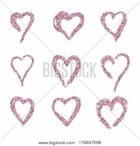 set red hearts in white gold doodle style, the logo, a symbol of love on white background. use in the design, design element, emblem. vector illustration.