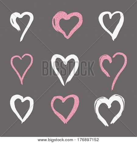set hearts of white and pink gold in doodle style, the logo, a symbol of love on a black background. use in the design, design element, emblem. vector illustration.