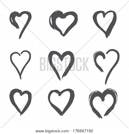 set of black heart in doodle style, the logo, a symbol of love on white background. use in the design, design element, emblem. vector illustration.