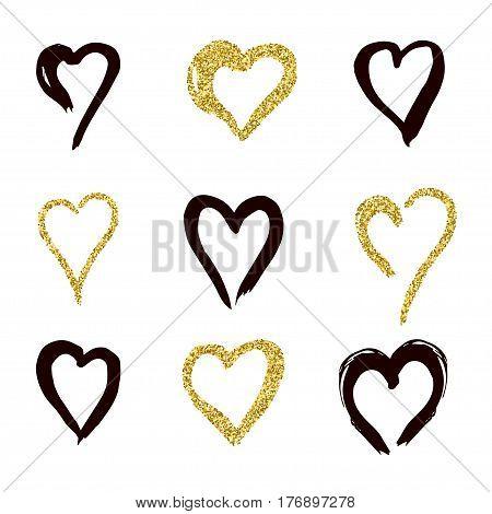 set of doodle hearts in style, the logo, the symbol of love, gold, black. use in decoration, design, emblem. vector illustration.