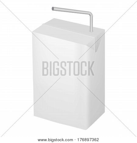 Milk or juice carton package with straw mockup. Realistic illustration of milk or juice carton package with straw vector mockup for web