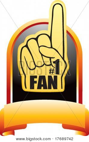 number one fan foam hand on crest shaped display