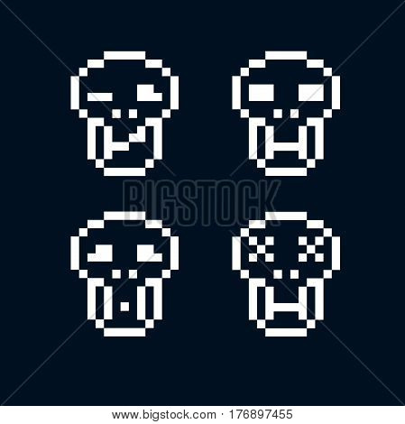 Vector craniums flat 8 bit icons collection of simple geometric pixel symbols. Digital web signs.