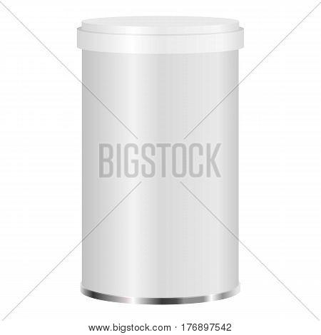 White plastic jar mockup. Realistic illustration of white plastic jar vector mockup for web