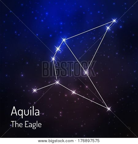 Aquila eagle constellation in the night starry sky. Vector illustration