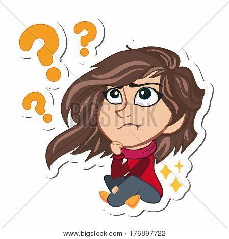 Girl thinking about something comic book. vector illustration. Cartoon character girl