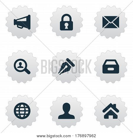 Vector Illustration Set Of Simple Job Icons. Elements Megaphone, Anonymous, Padlock And Other Synonyms Padlock, Seek And Dossier.