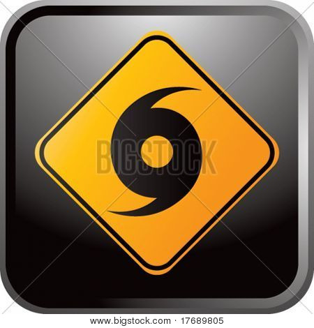 hurricane warning sign on glossy web button
