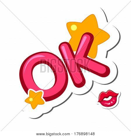 Kiss and OK sign. Positive lettering comic text ok. Comic text sound effects. Sticker Design elements vector illustration