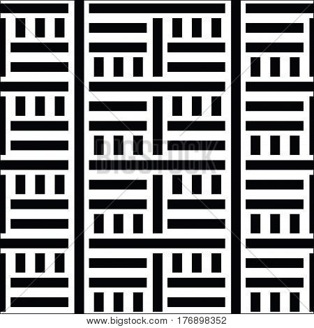 Geometric geo, basketweave, seamless pattern. Abstract strong geometrical background. Simple precise zebra print. Stripes design template. Striped background texture. Black and white digital graphic in vector