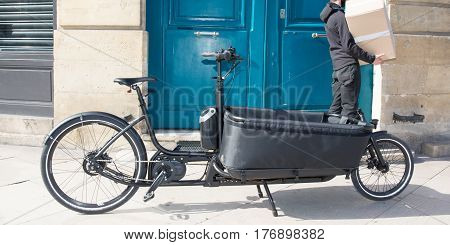 Cargo Bike Being Delivered To A Customer