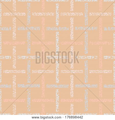 Seamless trellis, basketweave, patten. Abstract seamless pattern pastel crayons on beige. Coral blue and grey Paper Weave. Geometric Geo seamless background.