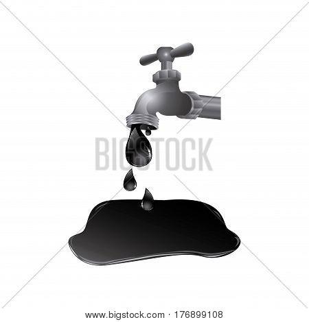 faucet with petroleum drop contamination, vector illustration design