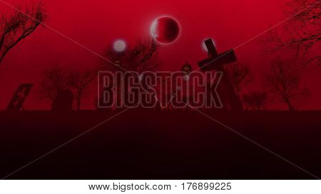 3d illustration of foggy graveyard with pumpkin lights and the moon on red sky background.