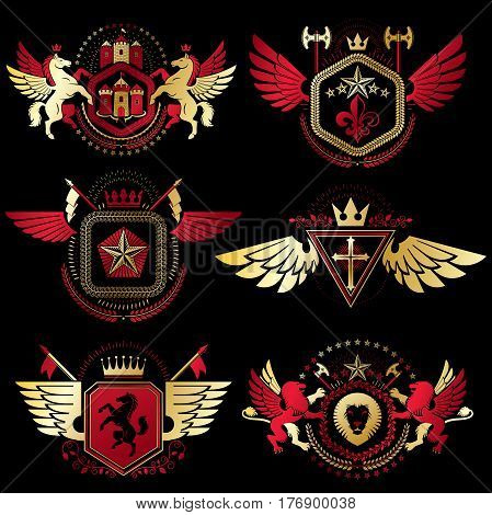 Vintage Decorative Heraldic Vector Emblems Composed With Elements Like Eagle Wings, Religious Crosse