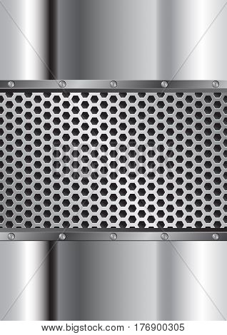metal background with grate and bolts - vector illustration