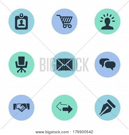 Vector Illustration Set Of Simple Trade Icons. Elements Identity Card, Trading Purse, Work Seat And Other Synonyms User, Card And Trading.