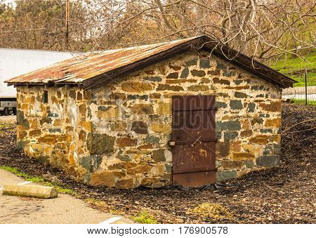 Rock Powder House With Rusted Tin Room Used For Storing Explosives