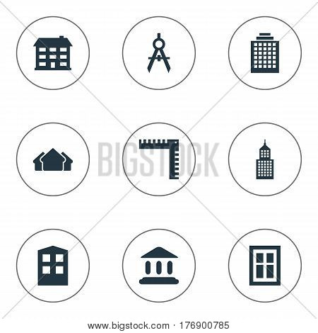 Vector Illustration Set Of Simple Structure Icons. Elements Offices, Glazing, Shelter And Other Synonyms Compass, Architecture And Shack.