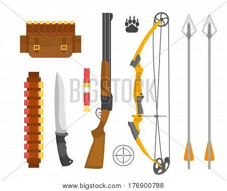 Set of vintage hunting symbols camping objects design elements flat style hunter weapons and forest wild other outfit isolated vector illustration. Aiming outdoors equipment.