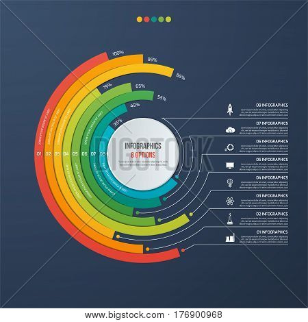 Circle Informative Infographic Design With 8 Options On Dark Background.