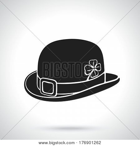 Vector illustration. Silhouette of bowler hat with buckle and clover. Saint Patrick's Day symbol. Patterns elements for greeting cards wallpapers