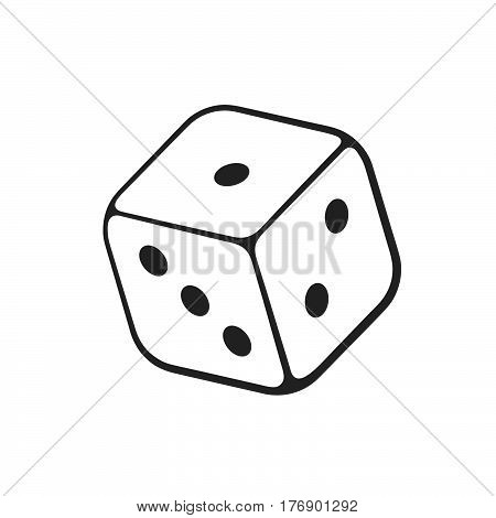 Vector illustration. Hand drawn doodle of one casino dice. Cartoon sketch. Gambling game symbol. Decoration for greeting cards posters emblems wallpapers