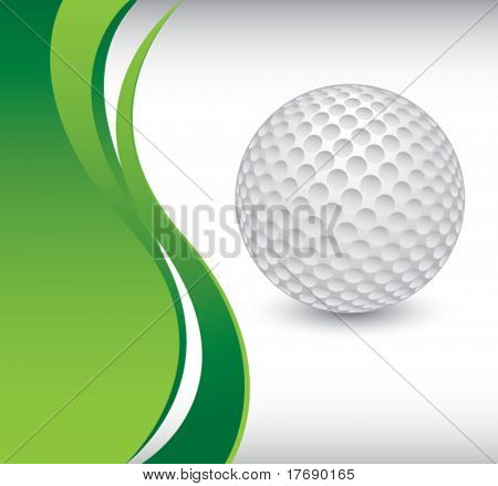 golf ball on vertical wave background
