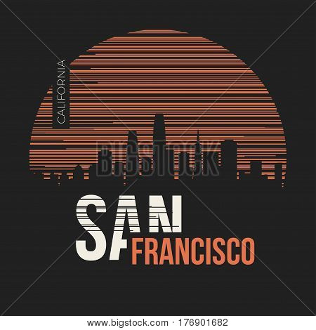 San Francisco Graphic, T-shirt Design, Tee Print, Typography, Emblem.