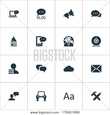 Vector Illustration Set Of Simple Blogging Icons. Elements Gossip, International Businessman, Notepad And Other Synonyms Sky, Camera And Considering.