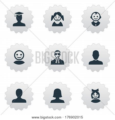 Vector Illustration Set Of Simple Human Icons. Elements Little Girl, Young Shaver, Job Man And Other Synonyms Daughter, Little And Security.