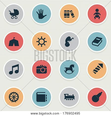 Vector Illustration Set Of Simple Kid Icons. Elements Ferris Wheel, Pony, Clyster And Other Synonyms Ferris, Unborn And Pony.
