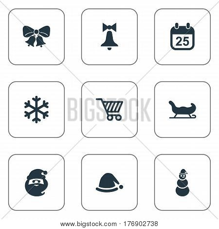 Vector Illustration Set Of Simple Celebration Icons. Elements Sledge, Christmas Cap, Decoration And Other Synonyms Cap, Basket And Ice.